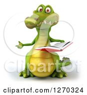 Clipart Of A 3d Crocodile Gesturing And Holding A Book Royalty Free Illustration