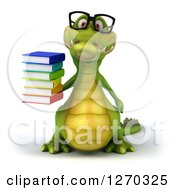 Clipart Of A 3d Bespectacled Crocodile Holding A Stack Of Books Royalty Free Illustration