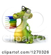 Clipart Of A 3d Bespectacled Crocodile Facing Left And Holding A Stack Of Books Royalty Free Illustration