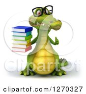 Clipart Of A 3d Bespectacled Crocodile Holding A Thumb Up And Stack Of Books Royalty Free Illustration
