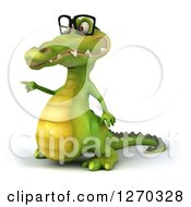 Clipart Of A 3d Bespectacled Crocodile Pointing Royalty Free Illustration