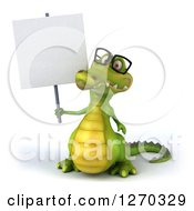 Clipart Of A 3d Bespectacled Crocodile Holding Up A Blank Sign Royalty Free Illustration