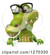 Clipart Of A 3d Bespectacled Crocodile Pointing Down At A Sign Royalty Free Illustration