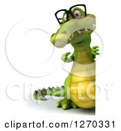 Clipart Of A 3d Full Length Bespectacled Crocodile Pointing Around A Sign Royalty Free Illustration