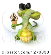 Clipart Of A 3d Crocodile Wearing Sunglasses And Holding Up An Ice Cream Cone Royalty Free Illustration