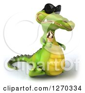 Clipart Of A 3d Crocodile Wearing Sunglasses Facing Right And Holding Up An Ice Cream Cone Royalty Free Illustration