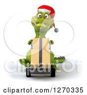 Clipart Of A 3d Christmas Crocodile Moving Boxes On A Dolly Royalty Free Illustration