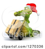 Clipart Of A 3d Christmas Crocodile Moving Boxes On A Dolly 2 Royalty Free Illustration