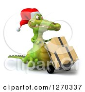 Clipart Of A 3d Christmas Crocodile Moving Boxes On A Dolly 3 Royalty Free Illustration