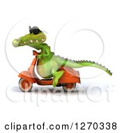 Clipart Of A 3d Crocodile Wearing Sunglasses And Riding A Scooter To The Left Royalty Free Illustration