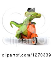 Clipart Of A 3d Crocodile Wearing Sunglasses And Riding A Scooter Royalty Free Illustration
