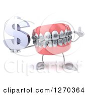 Clipart Of A 3d Metal Mouth Braces Teeth Mascot Holding Up A Finger And A Dollar Symbol Royalty Free Illustration