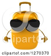 Clipart Of A 3d Yellow Suitcase Character Wearing Sunglasses And Tilted Down Royalty Free Illustration