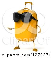 Clipart Of A 3d Yellow Suitcase Character Wearing Sunglasses And Presenting To The Left Royalty Free Illustration