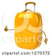 Clipart Of A 3d Yellow Suitcase Character Holding A Thumb Up And Facing Slightly Left Royalty Free Illustration