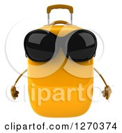 Clipart Of A 3d Yellow Suitcase Character Wearing Sunglasses Royalty Free Illustration