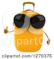 Clipart Of A 3d Yellow Suitcase Character Wearing Sunglasses And Holding A Thumb Up Royalty Free Illustration
