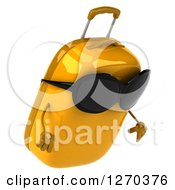 Clipart Of A 3d Yellow Suitcase Character Wearing Sunglasses And Pouting Royalty Free Illustration
