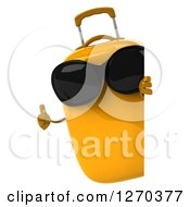 Clipart Of A 3d Yellow Suitcase Character Wearing Sunglasses And Holding A Thumb Up Around A Sign Royalty Free Illustration