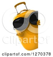 Clipart Of A 3d Yellow Suitcase Character Wearing Sunglasses And Pointing Around A Sign Royalty Free Illustration