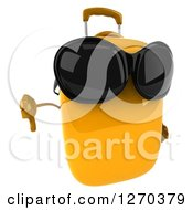 Clipart Of A 3d Yellow Suitcase Character Wearing Sunglasses And Holding A Thumb Down Royalty Free Illustration