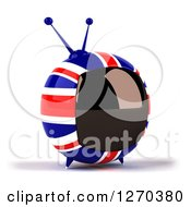 Clipart Of A 3d British Flag Retro Box Tv Facing Slightly Right Royalty Free Illustration