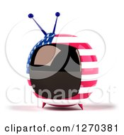 Clipart Of A 3d American Flag Retro Box Tv Facing Slightly Left Royalty Free Illustration
