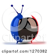Clipart Of A 3d French Flag Retro Box Tv Facing Slightly Right Royalty Free Illustration