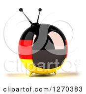 Clipart Of A 3d German Flag Retro Box Tv Facing Slightly Right Royalty Free Illustration