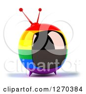 Clipart Of A 3d Rainbow Flag Retro Box Tv Facing Slightly Right Royalty Free Illustration