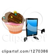 3d Tablet Computer Character Holding Up A Chocolate Frosted Cupcake And Thumb Down