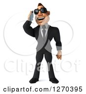 Clipart Of A 3d White Businessman Wearing Sunglasses And Talking On A Smart Phone Royalty Free Illustration