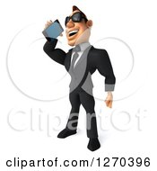 Clipart Of A 3d White Businessman Wearing Sunglasses Facing Left And Talking On A Smart Phone Royalty Free Illustration