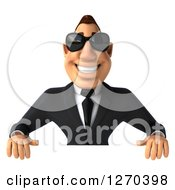 Clipart Of A 3d White Businessman Wearing Sunglasses Over A Sign Royalty Free Illustration
