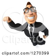 Clipart Of A 3d Bespectacled White Businessman Smiling And Flying Royalty Free Illustration