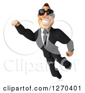 Clipart Of A 3d White Businessman Wearing Sunglasses Smiling And Flying Royalty Free Illustration