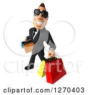 Clipart Of A 3d White Businessman Wearing Sunglasses And Carrying Shopping Bags Royalty Free Illustration