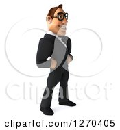 Clipart Of A 3d Bespectacled White Businessman Smiling And Standing Facing Right With Hands On His Hips Royalty Free Illustration