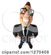 Clipart Of A 3d Bespectacled White Businessman Smiling Upwards And Standing With Hands On His Hips Royalty Free Illustration
