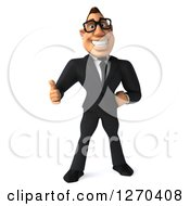 Clipart Of A 3d Bespectacled White Businessman Giving A Thumb Up Royalty Free Illustration
