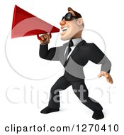 Clipart Of A 3d White Businessman Wearing Sunglasses Facing Left And Announcing With A Megaphone Royalty Free Illustration