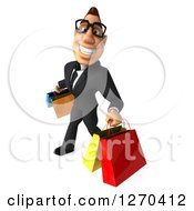 Clipart Of A 3d Bespectacled White Businessman Smiling And Walking With Shopping Bags 2 Royalty Free Illustration