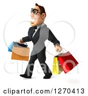Clipart Of A 3d Bespectacled White Businessman Smiling And Walking With Shopping Bags 3 Royalty Free Illustration