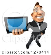 Clipart Of A 3d White Businessman Holding Up A Tablet Computer Or Smart Phone Royalty Free Illustration