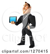 Clipart Of A 3d White Businessman Facing Left And Holding Out A Tablet Computer Or Smart Phone Royalty Free Illustration