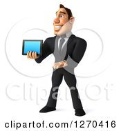 Clipart Of A 3d White Businessman Facing Left And Presenting A Tablet Computer Or Smart Phone Royalty Free Illustration