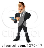 Clipart Of A 3d White Businessman Using A Tablet Computer Or Smart Phone Royalty Free Illustration
