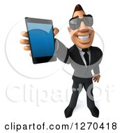 3d White Businessman Wearing Sunglasses And Holding Up A Smart Phone