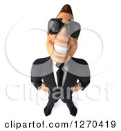 3d White Businessman Wearing Sunglasses And Smiling Upwards
