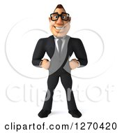 3d Bespectacled White Businessman Smiling And Standing With Hands On His Hips
